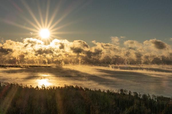 """February Sea Smoke on Lake Superior"""