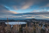 """LAKES 05052<br /> <br /> """"January Sunset over Teal Lake and Lake Superior""""<br /> <br /> Grand Portage, MN"""
