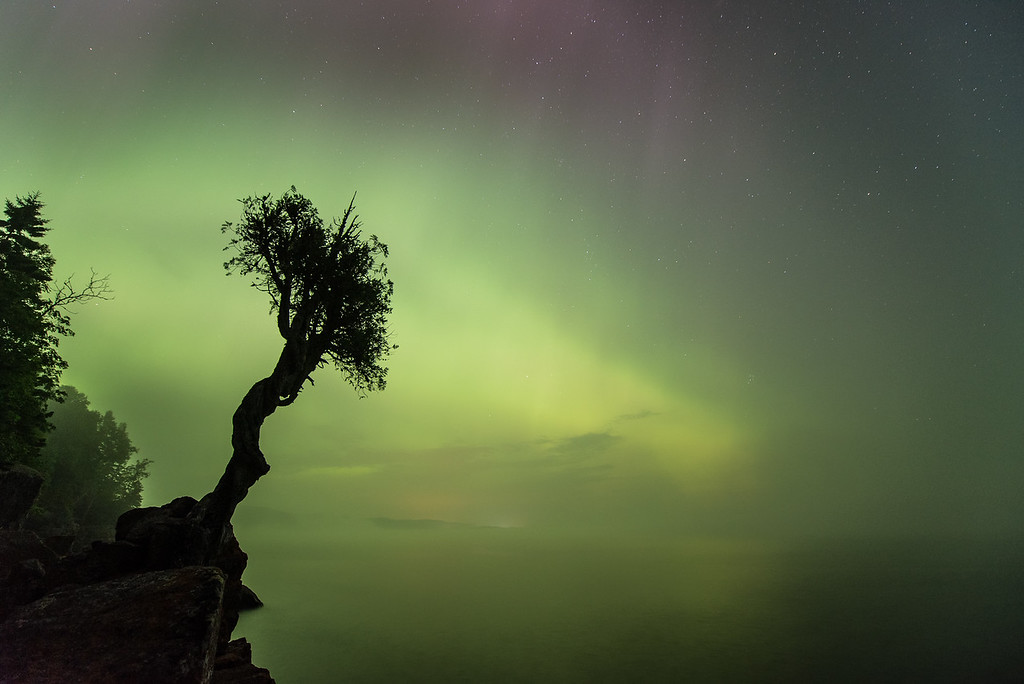 "AURORA 8761<br /> <br /> ""Lake Superior Fog and the Northern Lights""<br /> <br /> Northern Lights on August 16, 2015"