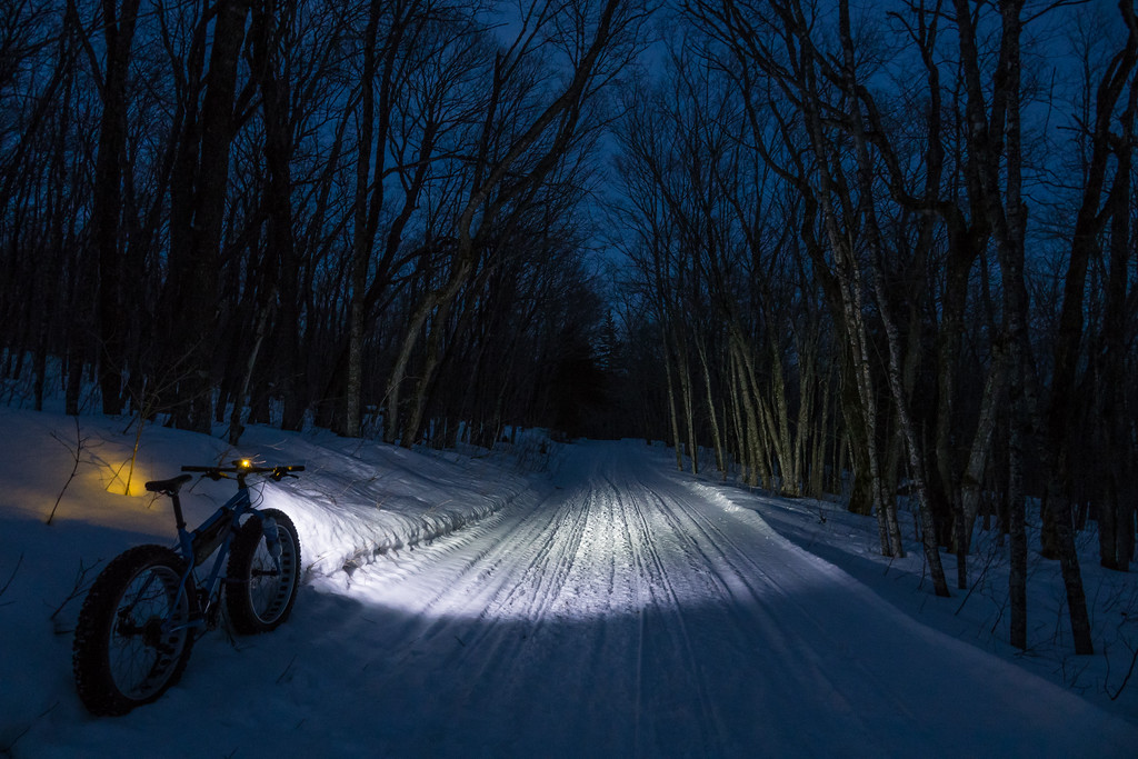 BIKING 01033<br /> <br /> March 2, 2017 - SWEET 15-mile ride after work this evening! The trails are so nice and firm, it's almost like riding on pavement!<br /> <br /> Grand Portage, MN