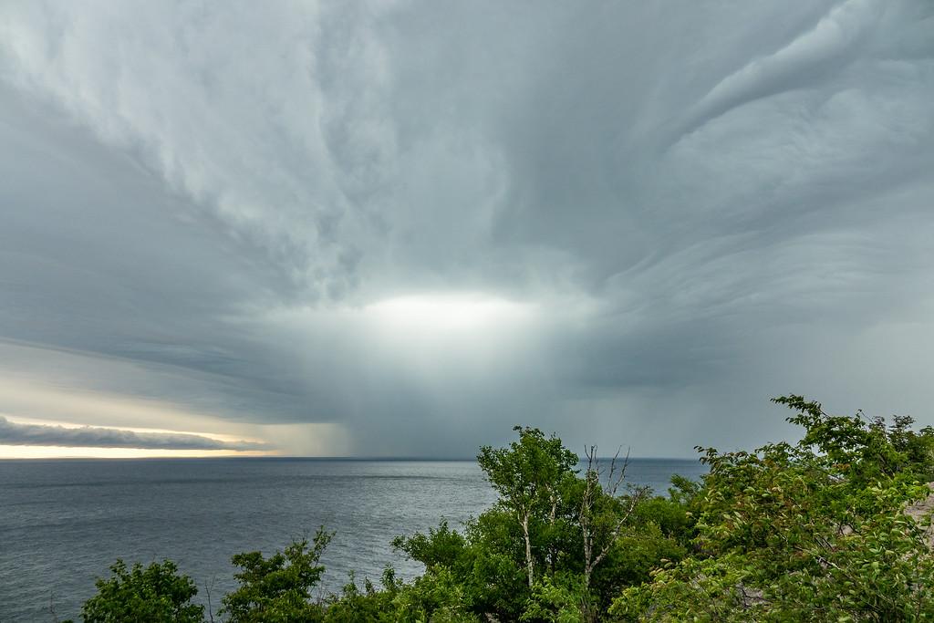 "SUPERIOR SUMMER 04691<br /> <br /> ""Summer Storm over Palisade Head""<br /> <br /> Tettegouche State Park, MN"