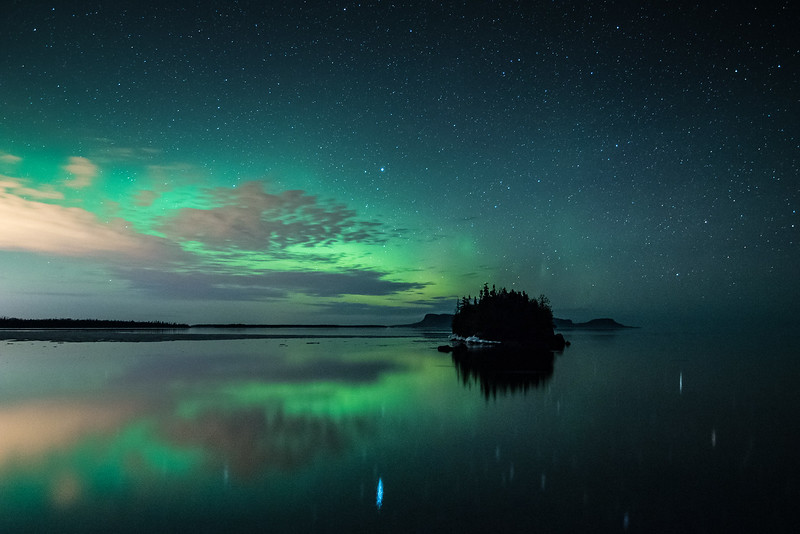 "AURORA 2262<br /> <br /> ""Northern Lights over Sturgeon and Pie Islands""<br /> <br /> Ontario, Canada"