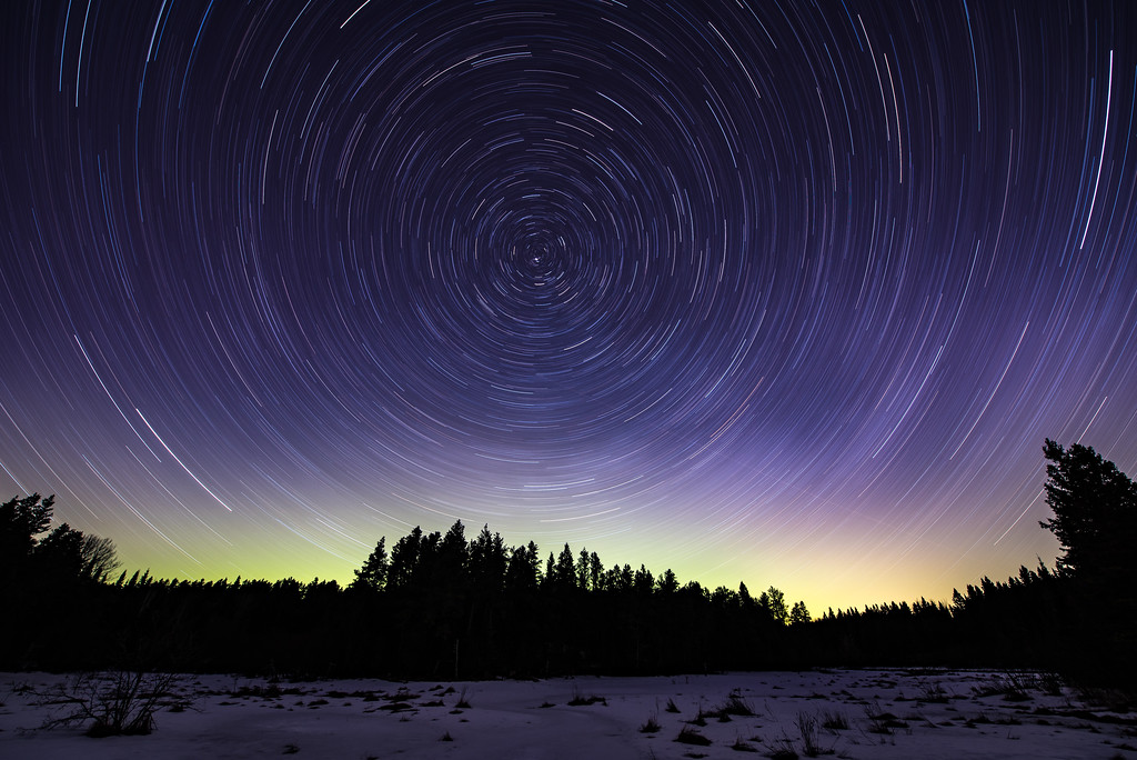 """STAR TRAILS 2289<br /> <br /> """"Star Trails and Northern Lights""""<br /> <br /> 72 minute exposure of the night sky taken on March 31, 2017"""