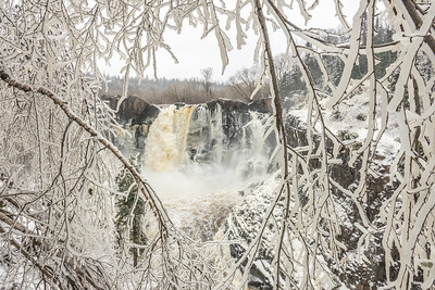 """PIGEON RIVER 03827  """"High Falls through a Window of Ice""""  April 27, 2017 - Grand Portage State Park"""
