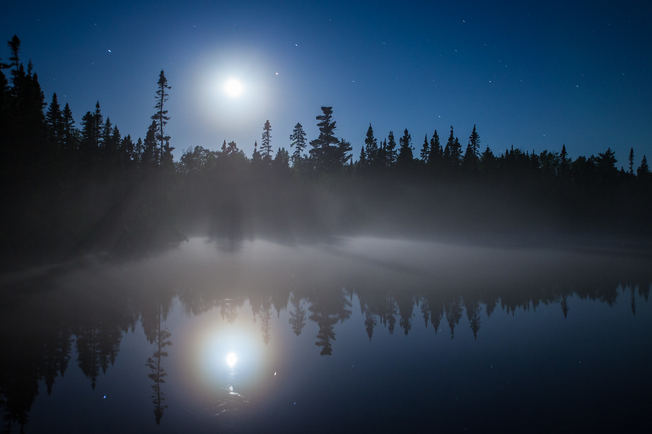 "MOONLIGHT 7336<br /> <br /> ""Moon and Fog over Devilfish Lake""<br /> <br /> Grand Portage State Forest - Cook County, MN"