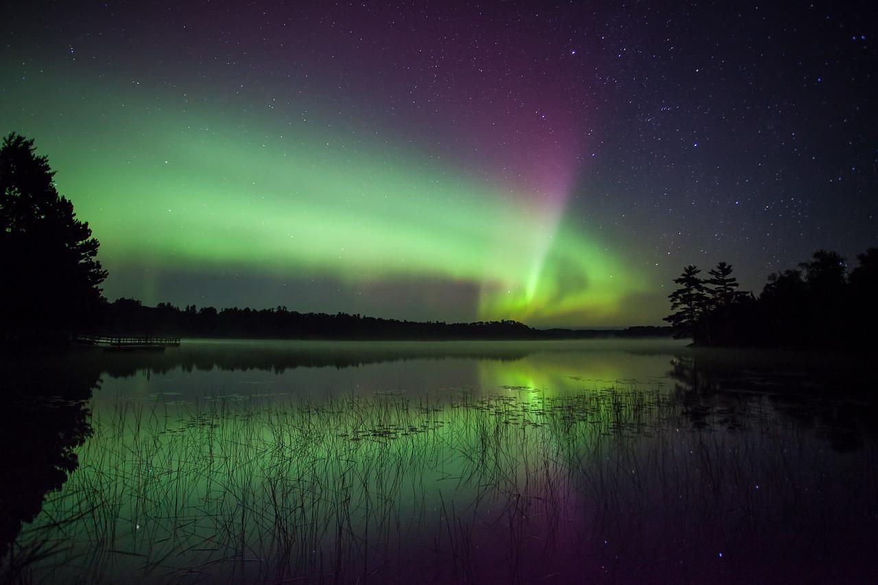"""AURORA 9420<br /> <br /> """"Vermilion Aurora""""<br /> <br /> Lake Vermilion State Park, MN - August 28, 2014"""