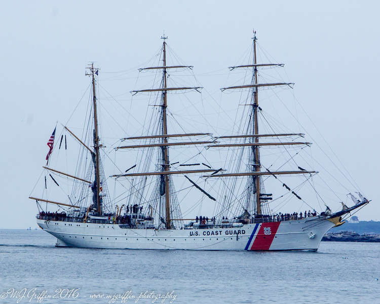The United States Coast Guard Eagle, America's Tall Ship, as it approached Salem Harbor.
