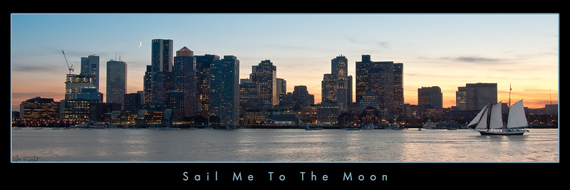 Sail Me To the Moon Banner | This image of Boston was captured in September of 2009.  It is a special moment as the moon chases the sunset.  As I was waiting for the right moment for the moon to fill the frame, the sailboat came into view. Serendipity.