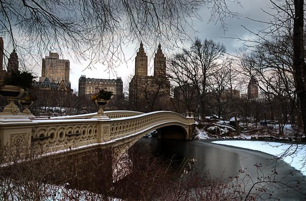 Central Park Bow Bridge In Snow