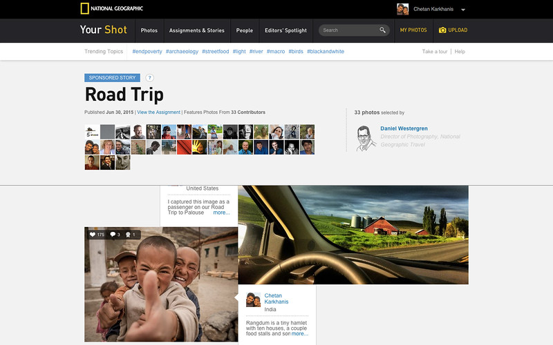"Featured in <a href=""http://yourshot.nationalgeographic.com/stories/road-trip/"" target=""_blank"">Road Trip assignment curated by Daniel Westergren, Director of Photography, National Geographic Travel</a>"