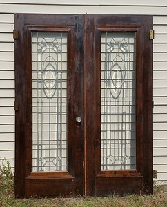 Leaded Glass Exterior French Doors