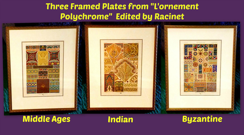 """Three Framed Plates from """"L'ornement Polychrome."""""""
