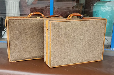 Hartmann Tweed Leather Luggage Set