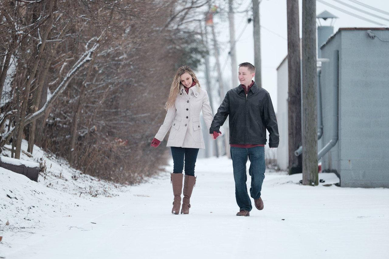 Winter snow engagement portrait