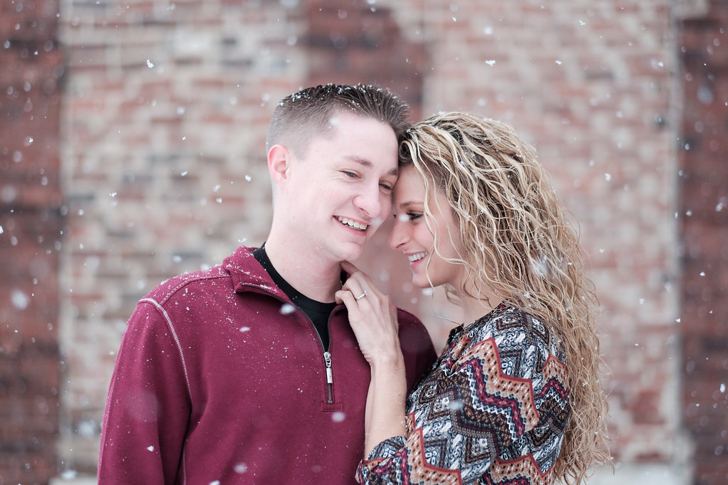 Winter snow engagement portrait