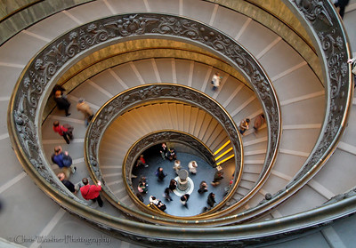 Spiral stairs at the Vatican Museum.