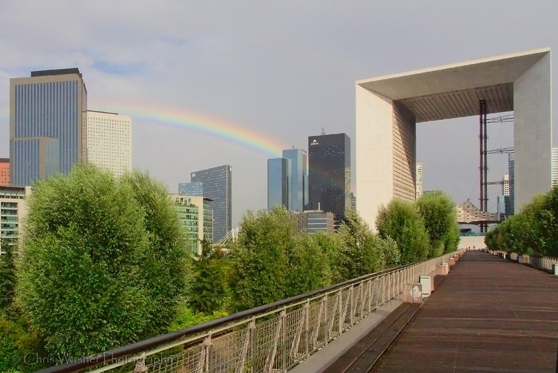 La Defense Arch at the end of the rainbow.  Paris, France.