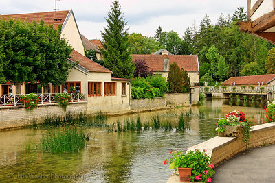 Essoyes on the Ource river, Champagne, France.