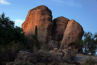Evening light on boulders, Arizona.