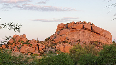 "Sunrise on the boulders at ""The Boulders"" outside of Phoenix, Arizona."