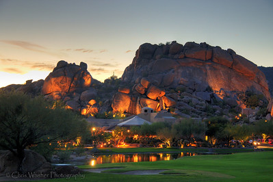 Evening glow on The Boulders resort, Arizona.