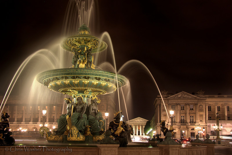 Fontaines de la Concorde, Paris.<br /> <br /> The two fountains in the Place de la Concorde have been the most famous of the fountains built during the time of Louis-Philippe, and came to symbolize the fountains in Paris. They were designed by Jacques-Ignace Hittorff.<br /> <br /> This, the north fountain, was devoted to the Rivers, with allegorical figures representing the Rhone and the Rhine, the arts of the harvesting of flowers and fruits, harvesting and grape growing; and the geniuses of river navigation.