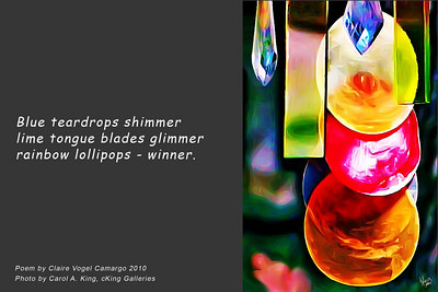 Photo without poem available at: http://ckinggalleries.smugmug.com/Yard-Art/Hanging-Baubles/12243276_cuktM#872551562_oXvC7