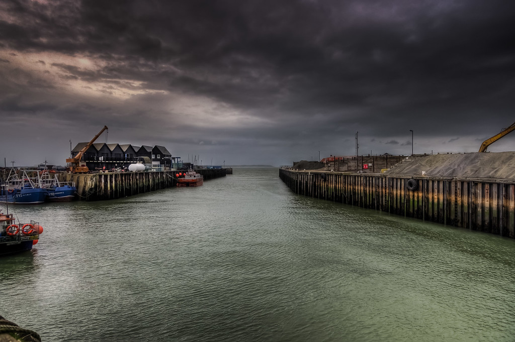 Entrance to Whitstable Harbour, Kent, UK
