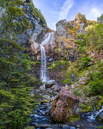 Waterfall from a Castle in a Lush Valley on Ruapehu Mountain