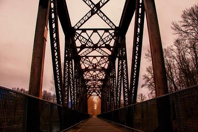Ped Bridge Looking Down Trail 3-20-15 near Sundown