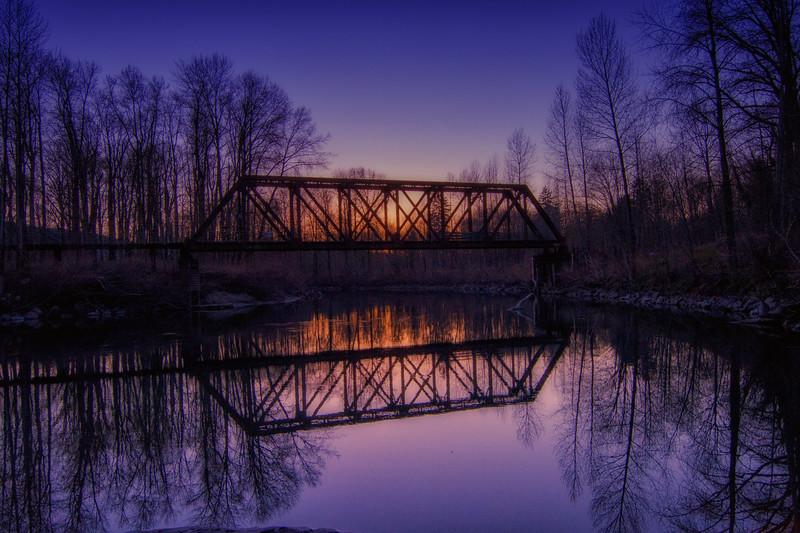 Winter Sunset Bridge Reflection