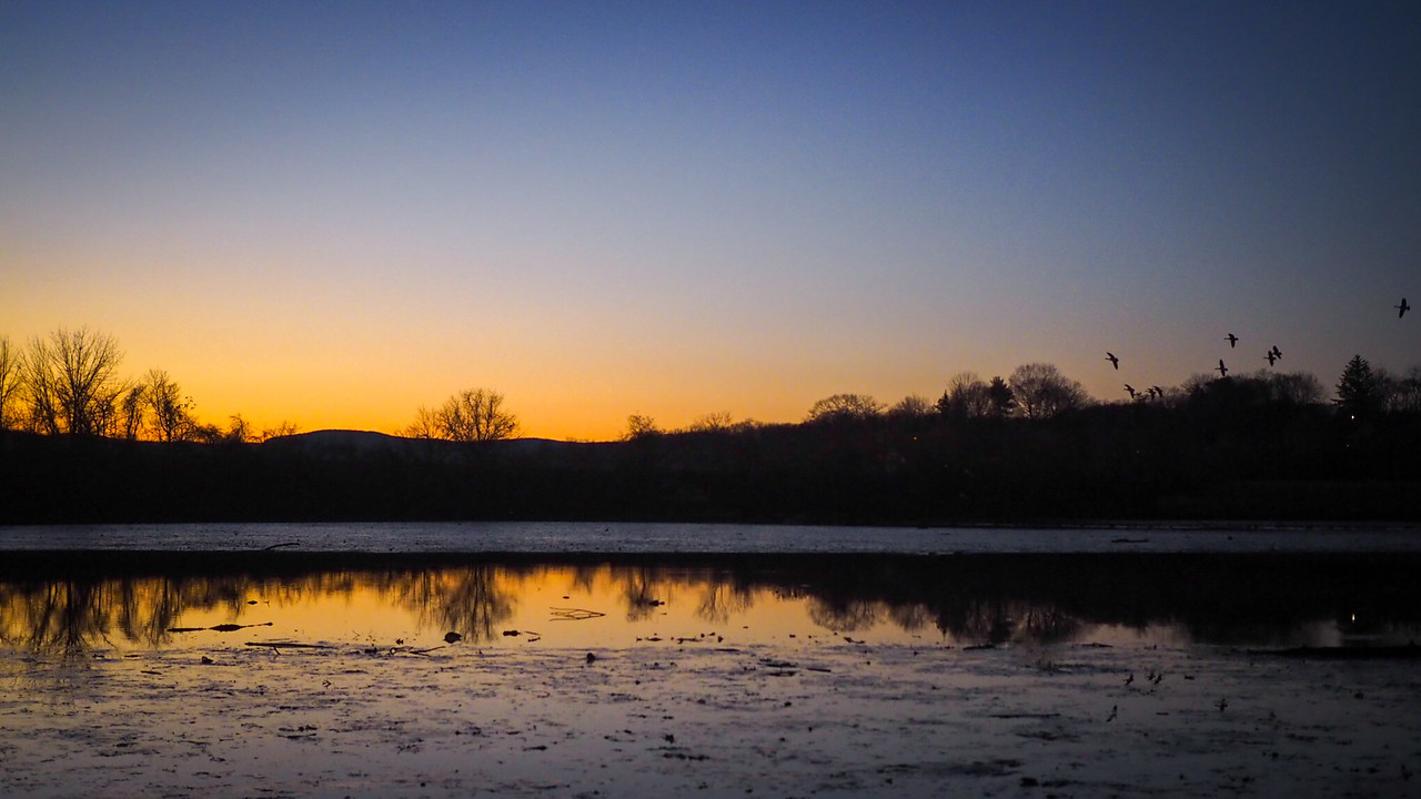 Sunset Over Hudson Salt Marsh - Oscawana Landing - Dec 2016