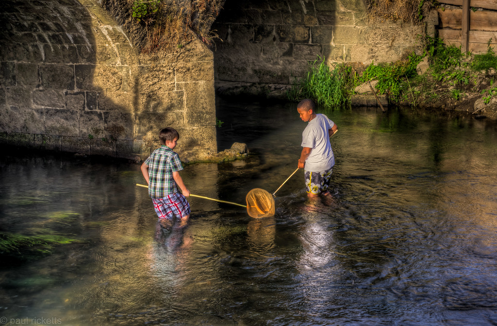 Fishing in the River Rother by Cowdray House, Midhurst Sussex, August 2013