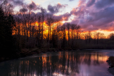 Sunset Middle Fork Snoqualmie River Reflection 3-21-15 - Copy