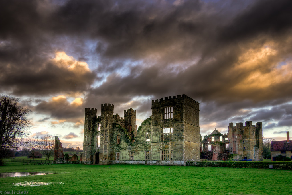 Sunset on The Front Lawn, Tudor Cowdray House, Midhurst