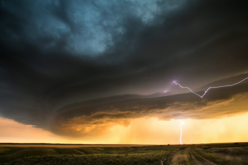Dramatic supercell over the Badlands near Phillip, South Dakota, June 30, 2012