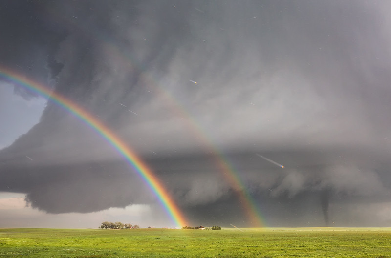 Double Rainbow with Tornado / Simla, Colorado