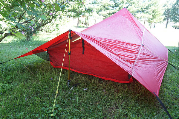 Back view of tent