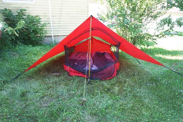 View of entire tent, front door open