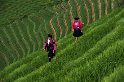 A pair of minority Yao women, Longji Rice Terraces, China