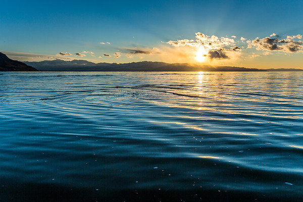 The Great Salt Lake at sunset, near the Great Saltair