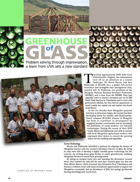 This is an article about my work with M-CAM and the University of Virginia building a greenhouse in Mongolia using locally sourced materials including reclaimed bottle glass.