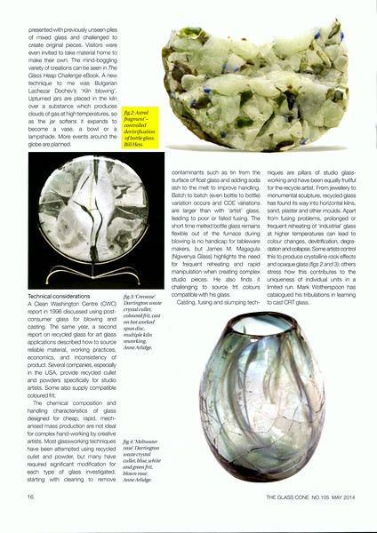 """This is an excerpt from the second of two articles about uses of the recycled glass by artists around the world. The author includes a photo of """"Astral Fragment"""" highlighting my use of devitrification."""