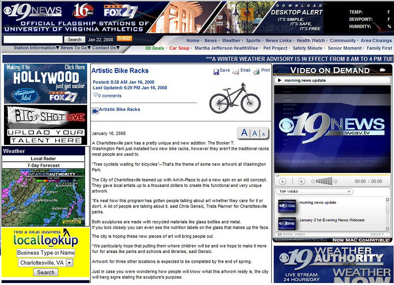 <h3>Charlottesville Channel 19 News Online, January, 2008<h3>