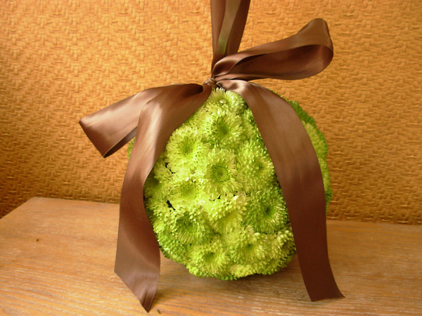 flowergirl pomander of santini pincushion mums sprayed green with satin chocolate brown ribbon