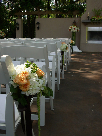aisle pew bouquets of white hydrangea, macarena spray roses, green hypericum berries, lemon tip & hanging amaranthus