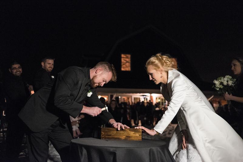 Amanda & Adam's outdoor night time winter wedding at the Pavilion at Orchard Ridge Farms. Wedding photographer– Ryan Davis Photography – Rockford, Illinois.