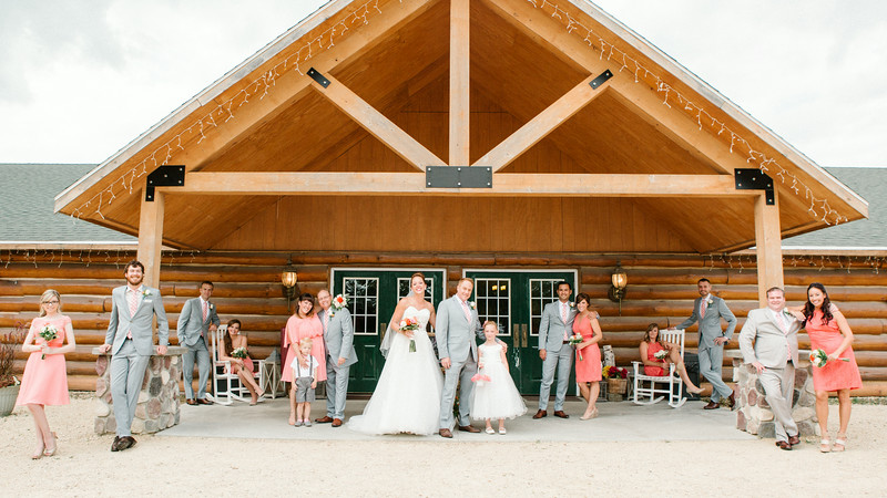 First look, Bridal party and family portrait session at Ashley & Eli's outdoor wedding at Williams Tree Farm. Wedding photographer – Ryan Davis Photography – Rockford, Illinois.