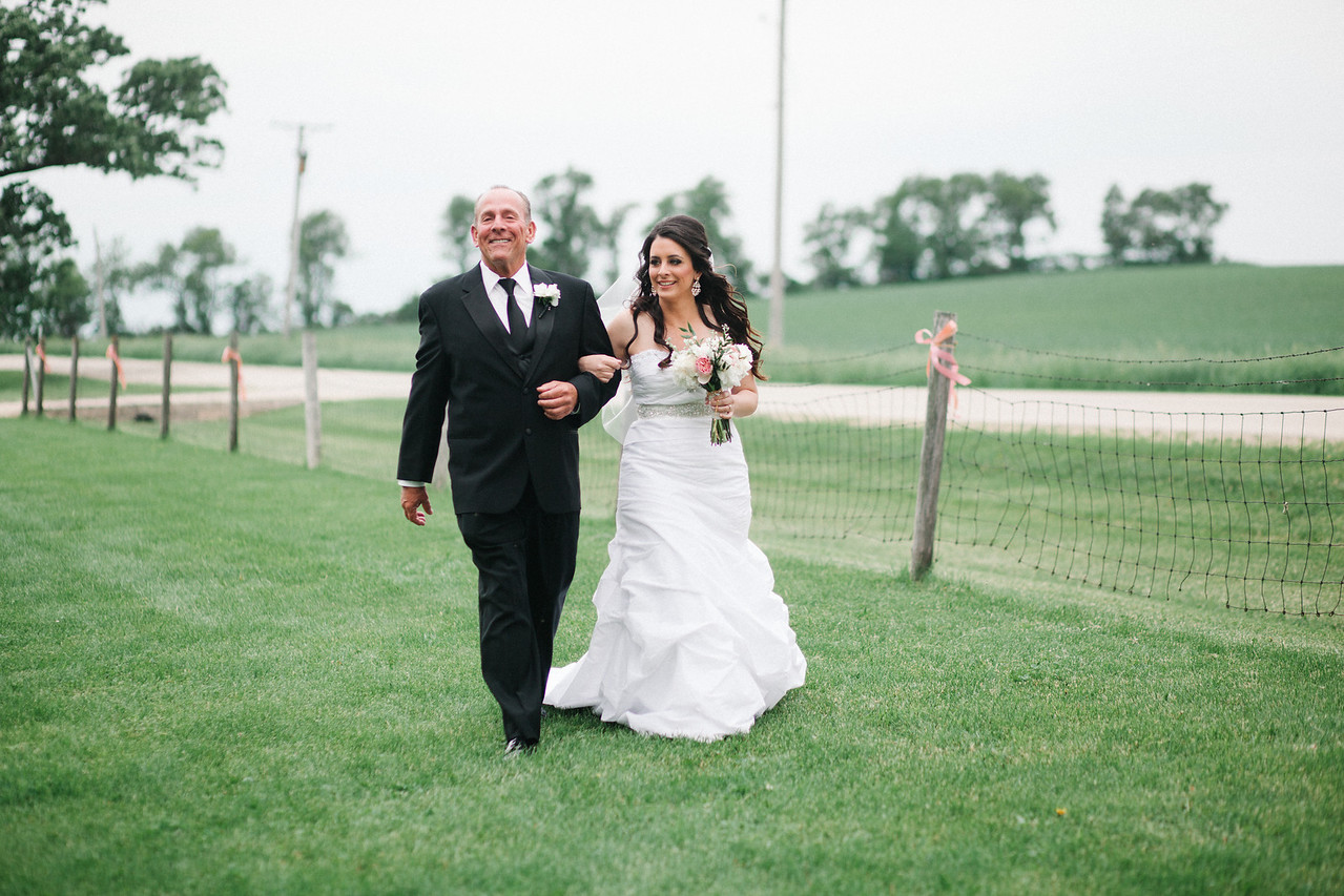 Outdoor summer wedding ceremony at McEachran Homestead Winery and vineyard in Caledonia, IL near Rockford.  Wedding photographer – Ryan Davis Photography – Rockford, Illinois.