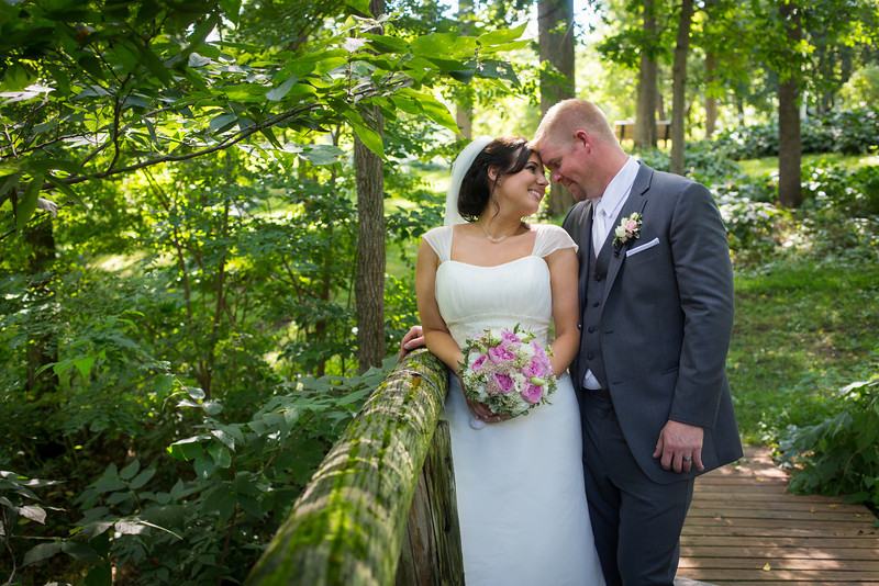 Newlywed, Bridal Party and Family portraits at Dubuque Arboretum and Botanical Gardens in Dubuque, Iowa. Wedding photographer – Ryan Davis Photography – Rockford, Illinois.